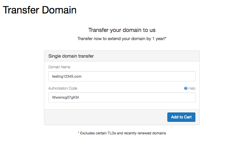 The first step of transferring your domain name to MojoHost is simply adding it and your EPP code.